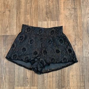 Staring At Stars Black/Silver Glittery Lace Shorts